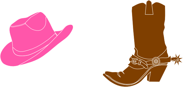 picture black and white library Cowgirl hat and boot. Free western clipart