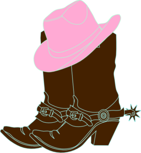 svg Cowgirl clipart. Boots and pink hat