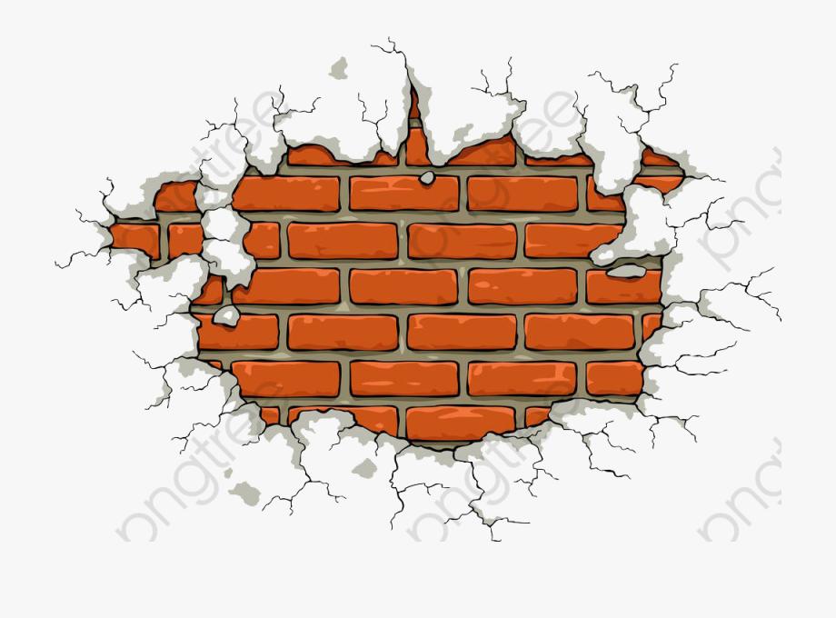 clip royalty free library Broken background cartoon . Cracked brick wall clipart