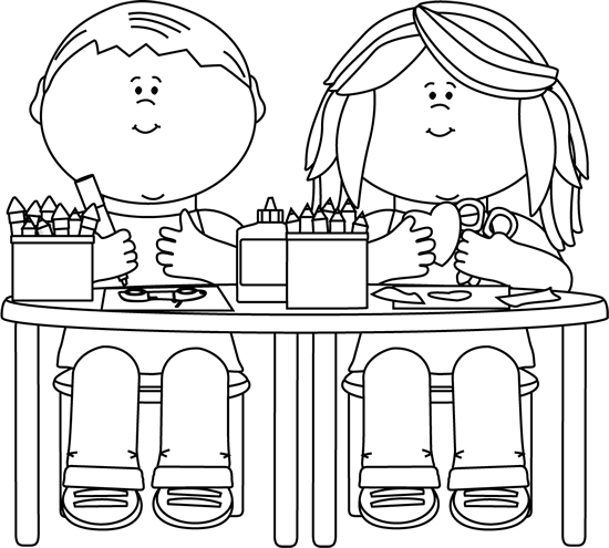 vector royalty free Arts crafts . Kindergarten clipart black and white