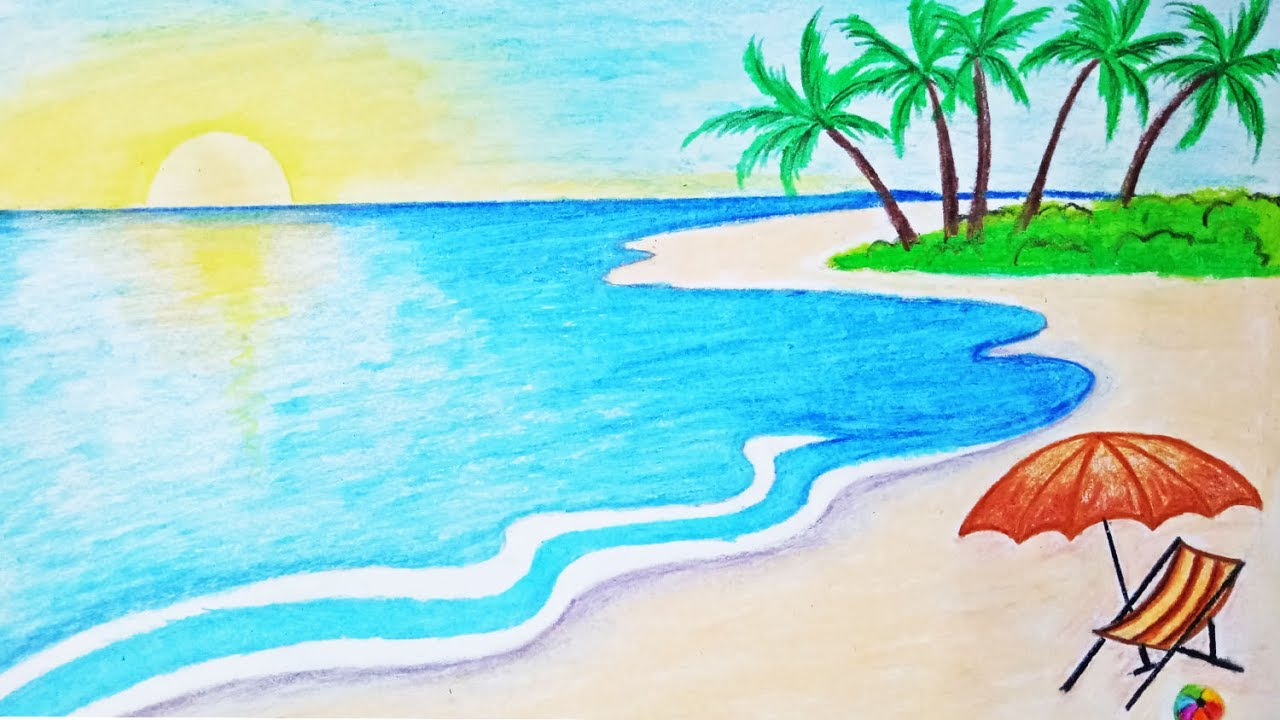 picture How to draw a scenery of sea beach Step by step