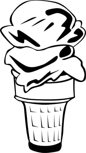 clip art library download Cream cone scoop b. Ice cube clipart black and white