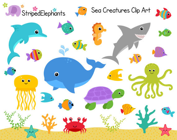 image library stock Sea creatures clip art. Ocean animal clipart