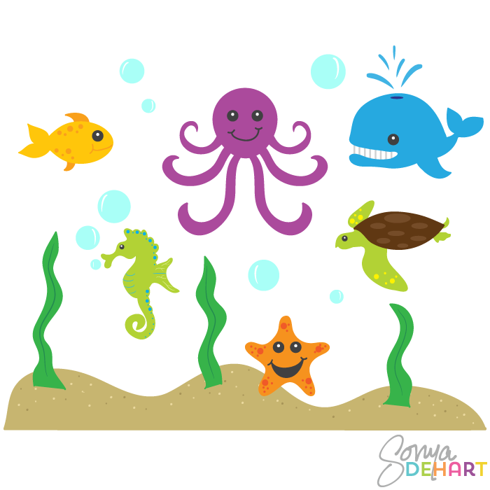 clipart black and white download Underwater animal clipart. Ocean animals kid cliparting