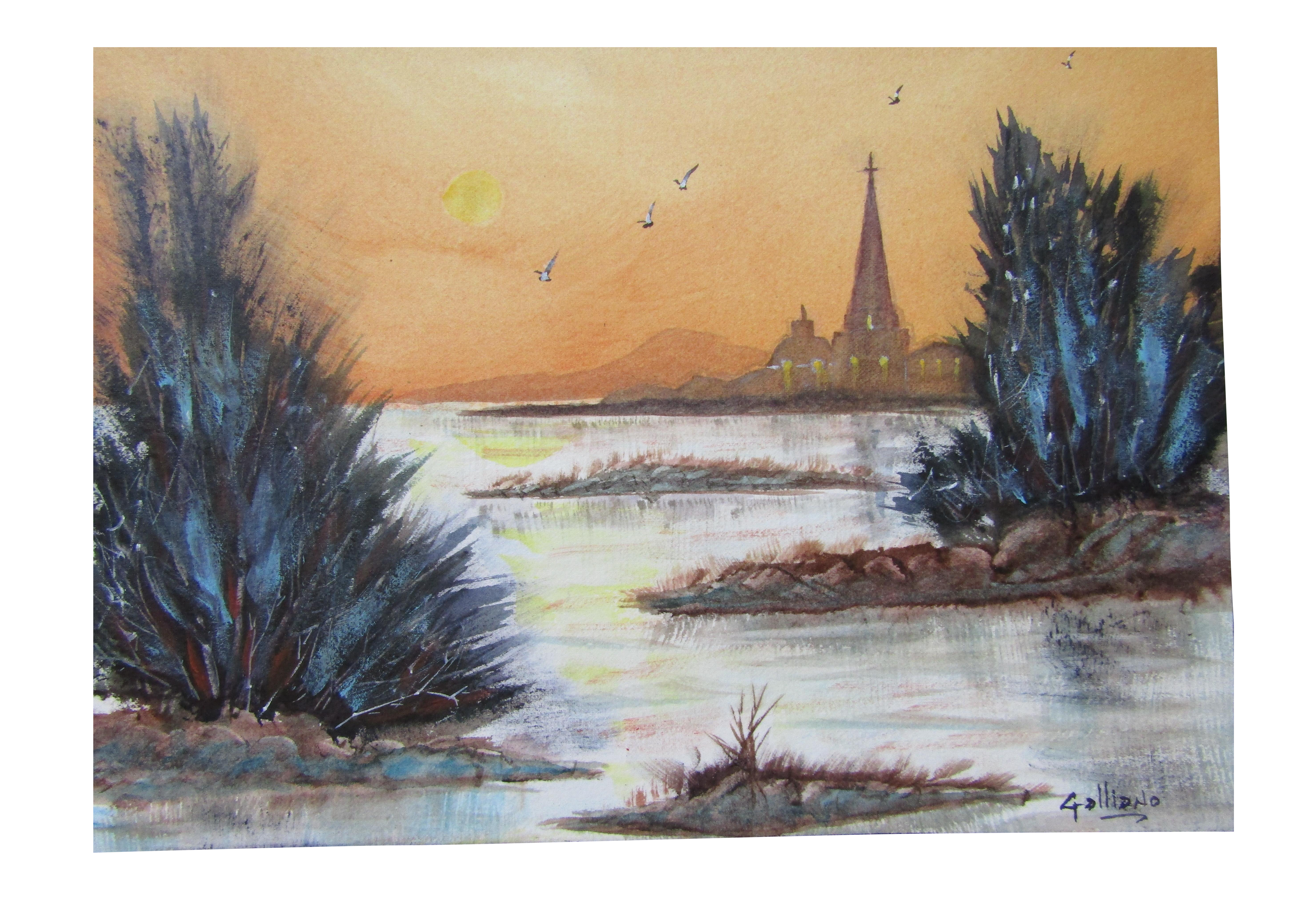 vector freeuse library Watercolor painting chairish . Drawing charcoal landscape