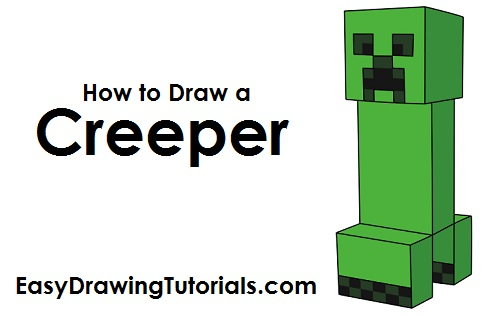 picture free library Creeper drawing. How to draw a.