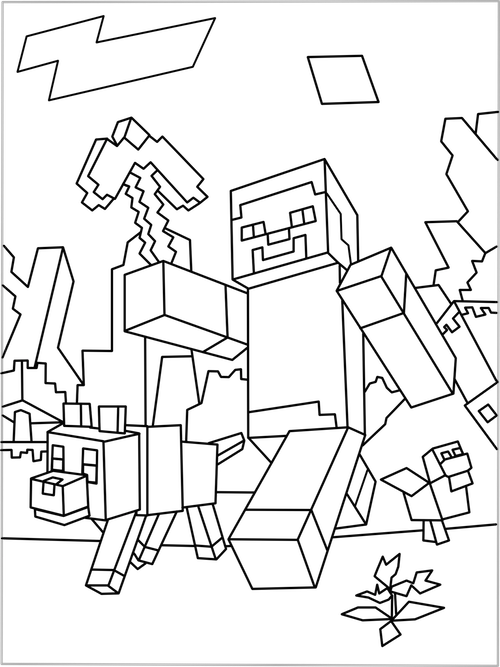 vector transparent stock Printable Minecraft World coloring page