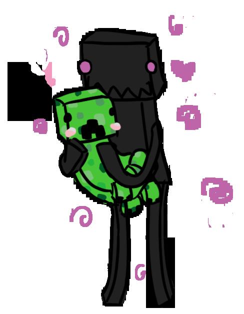 vector free download Creeper drawing cute. And enderman by nastiadol.
