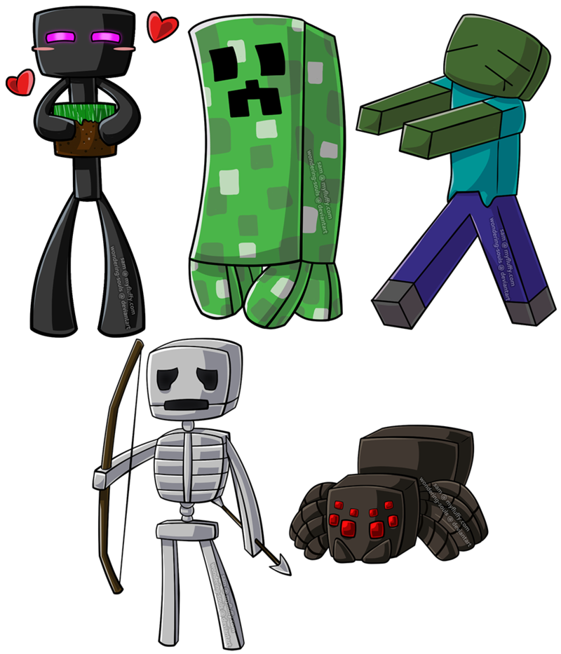 graphic transparent library Minecraft Chibi Group by sambeawesome on DeviantArt