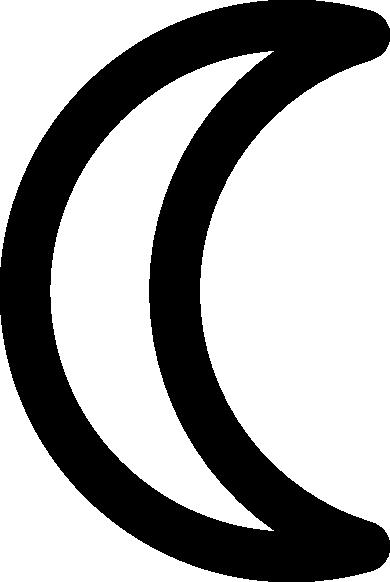 black and white Moon symbol decrescent clip. Half sun clipart black and white