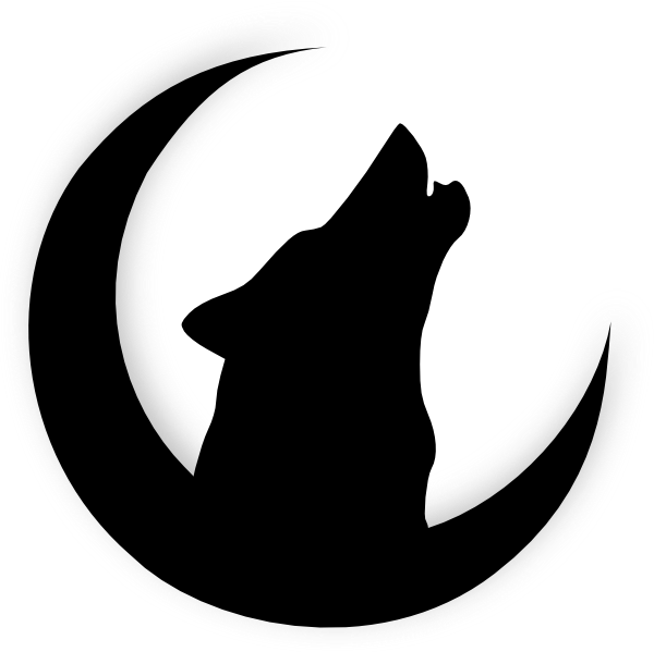 clip library library Wolf howling with moon. Drawing silhouette easy
