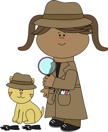 svg Detective girl following clues with her pet detective cat from MyCu