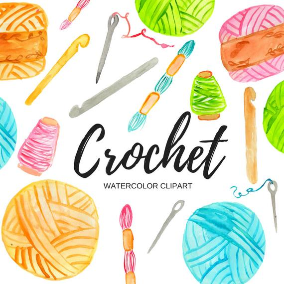 picture download Crochet clipart. Watercolor crafting graphics commercial
