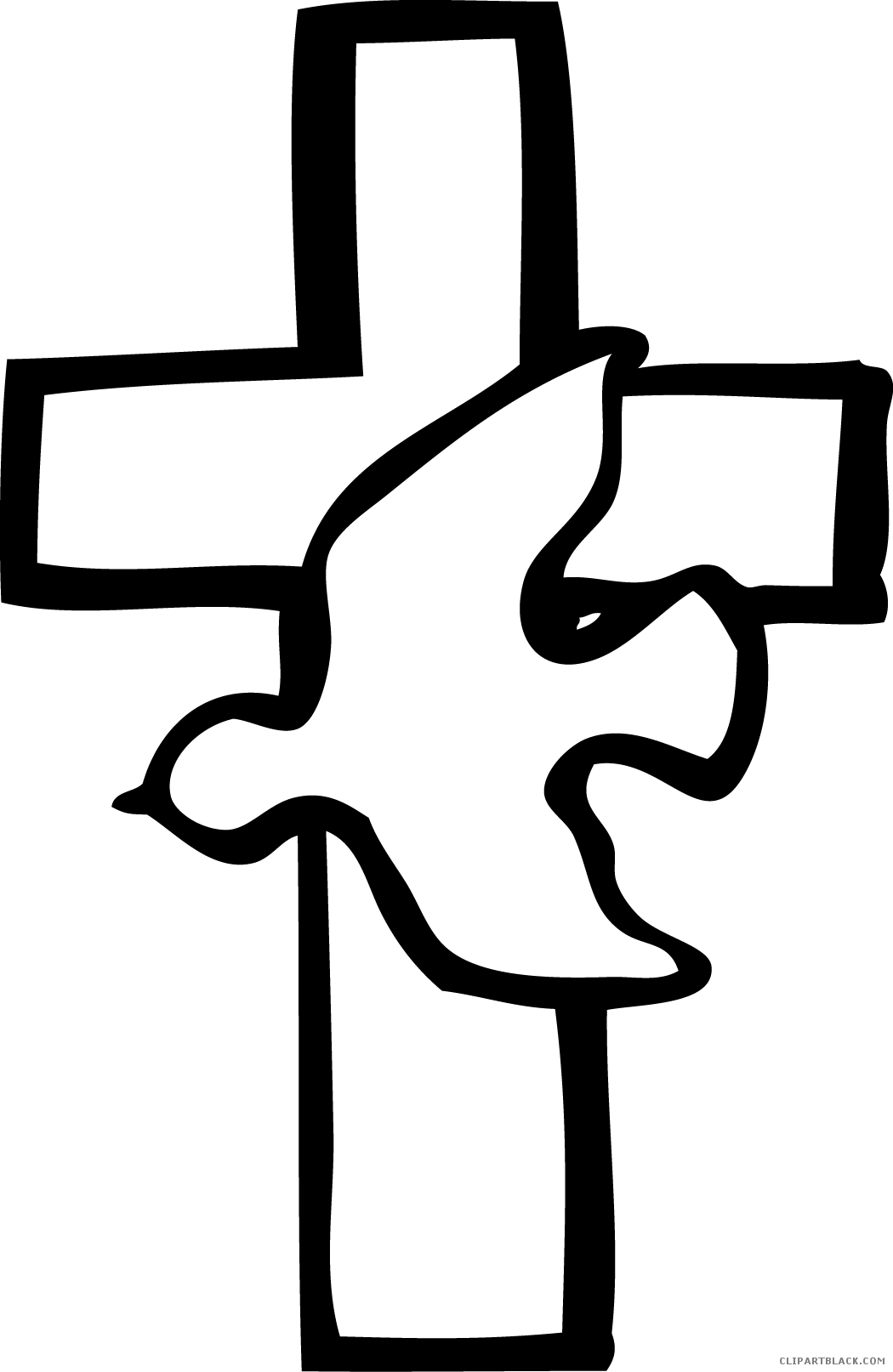 png free library Cross black and white clipart. Dove clipartblack com animal