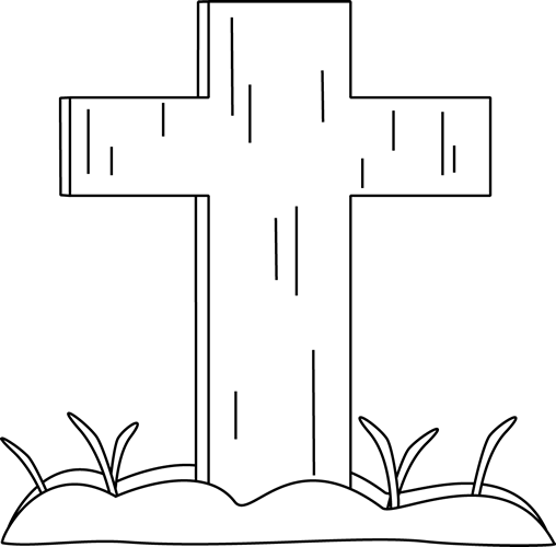 svg black and white library Black and White Easter Cross in the Grass Clip Art