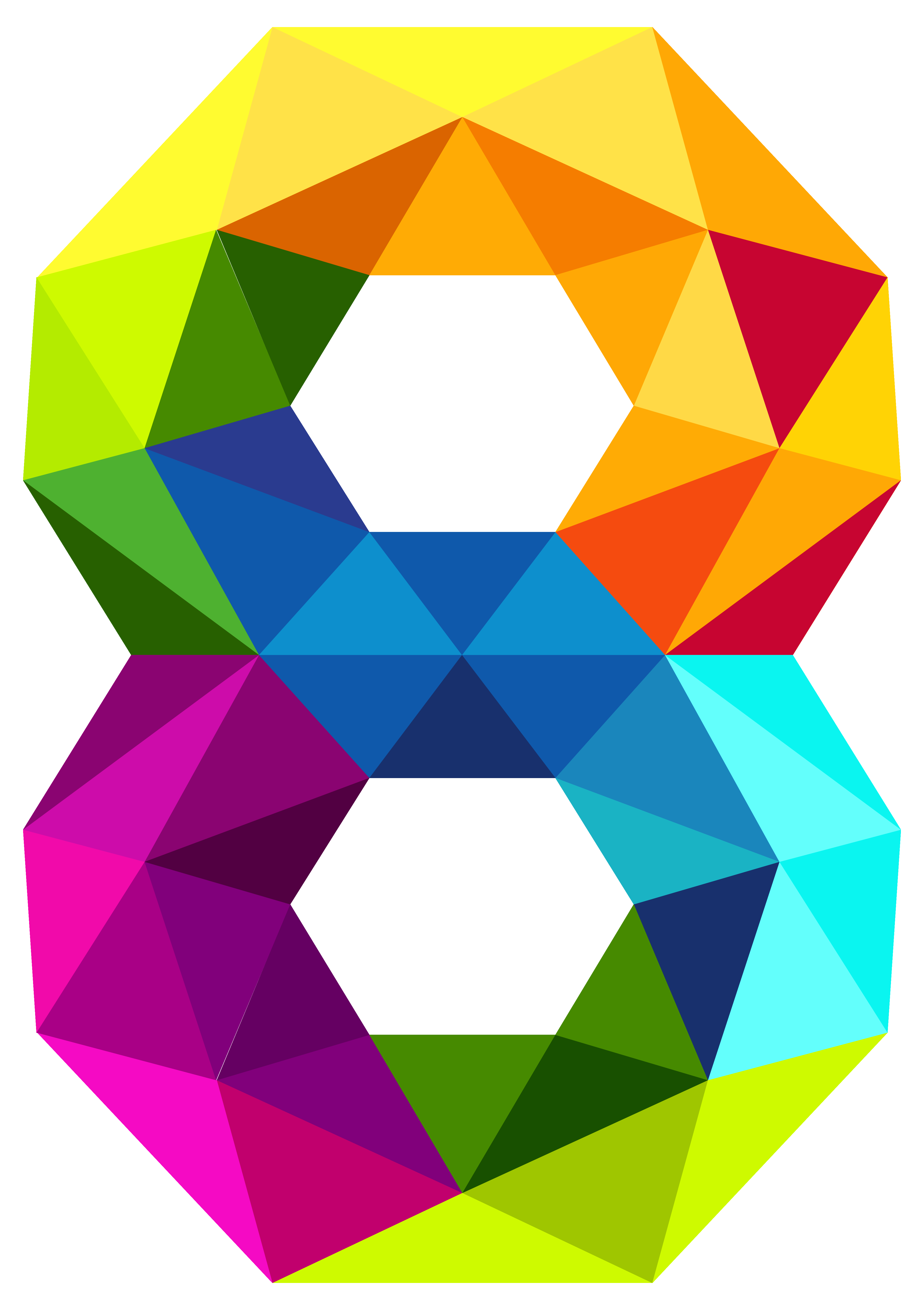 free download Vector polygon. Colourful triangles number eight.