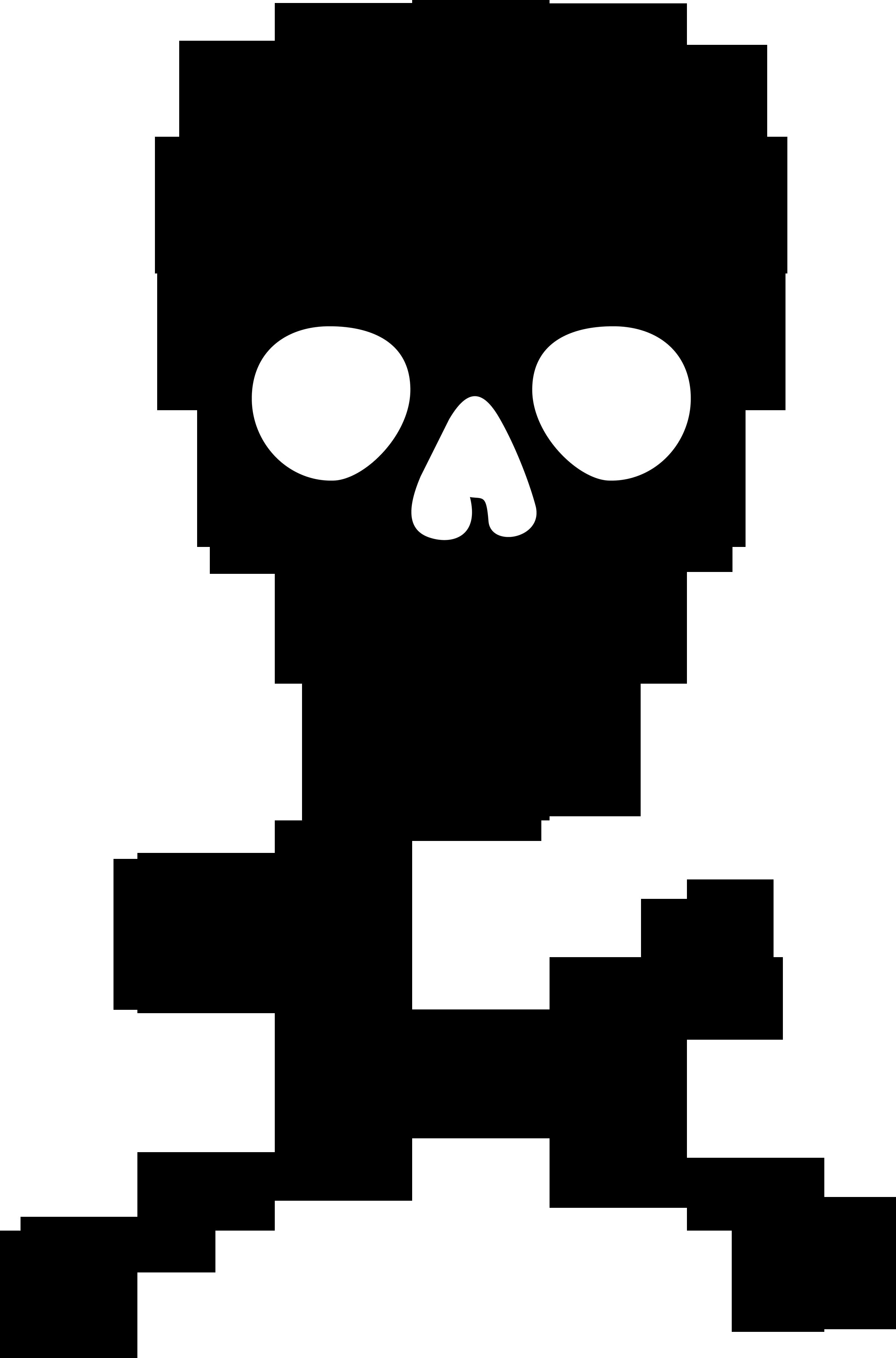 black and white Bones vector silhouette. Skull and crossbones transparent