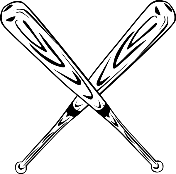 clip black and white download Crossed Baseball Bat Clipart