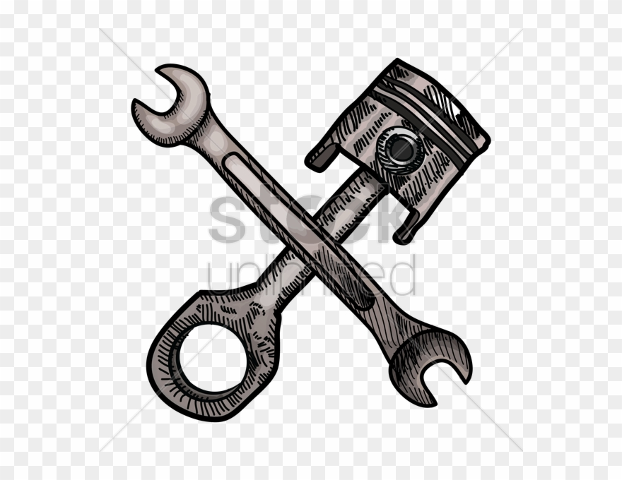 vector black and white download Crossed wrench clipart. Piston spanners tool clip.