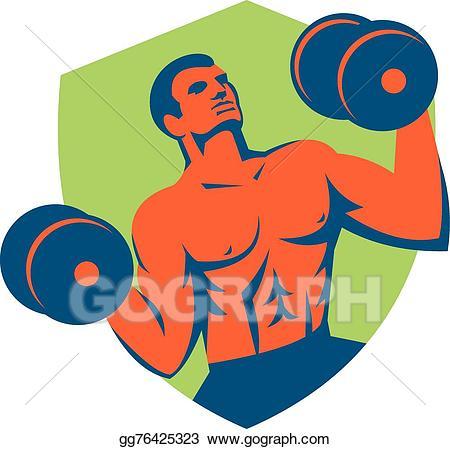 image Illustration strongman lifting dumbbells. Crossfit vector dumbbell