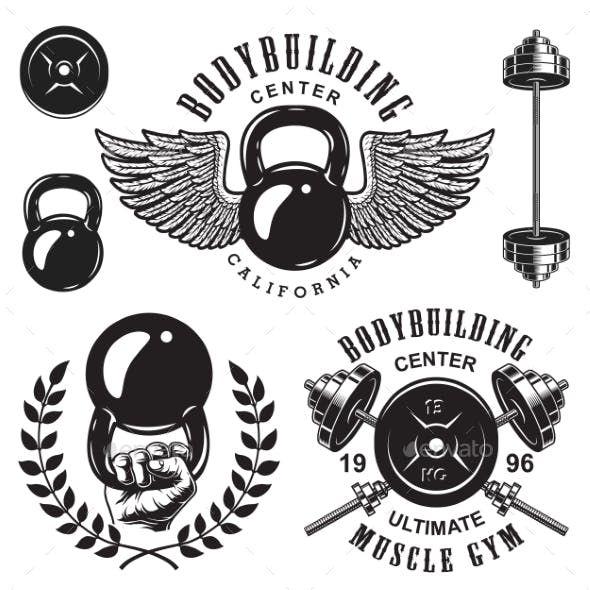 jpg black and white library Set of bodybuilding emblems. Crossfit vector dumbbell