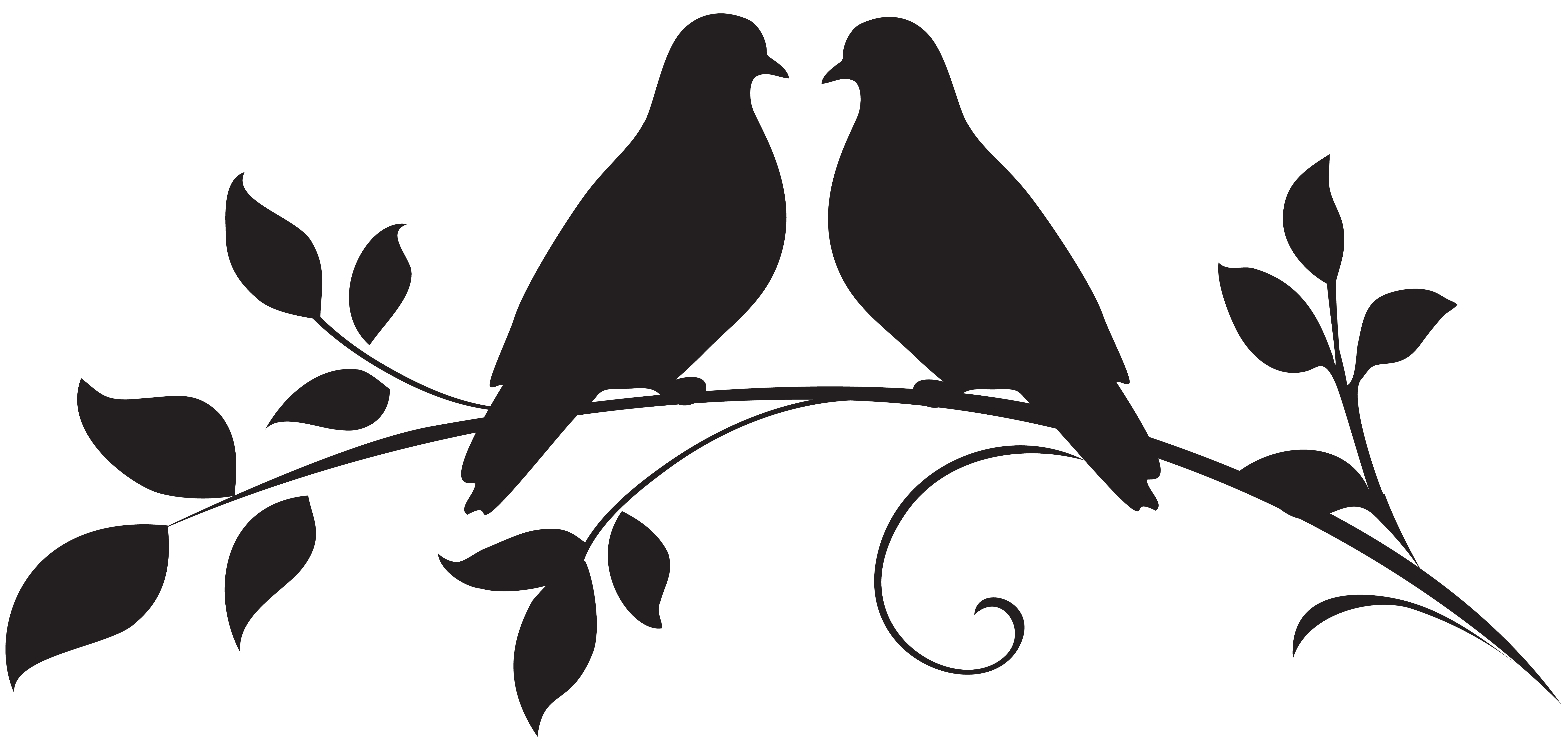 clip black and white stock Love Doves Silhouette PNG Clip Art