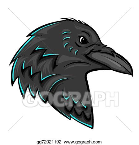 jpg black and white Eps illustration raven vector. Crow clipart head
