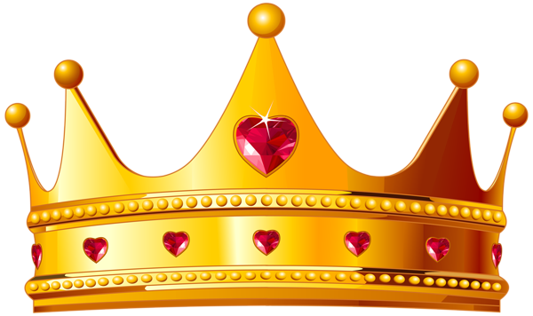 graphic stock Golden crown with hearts. Crowns clipart.