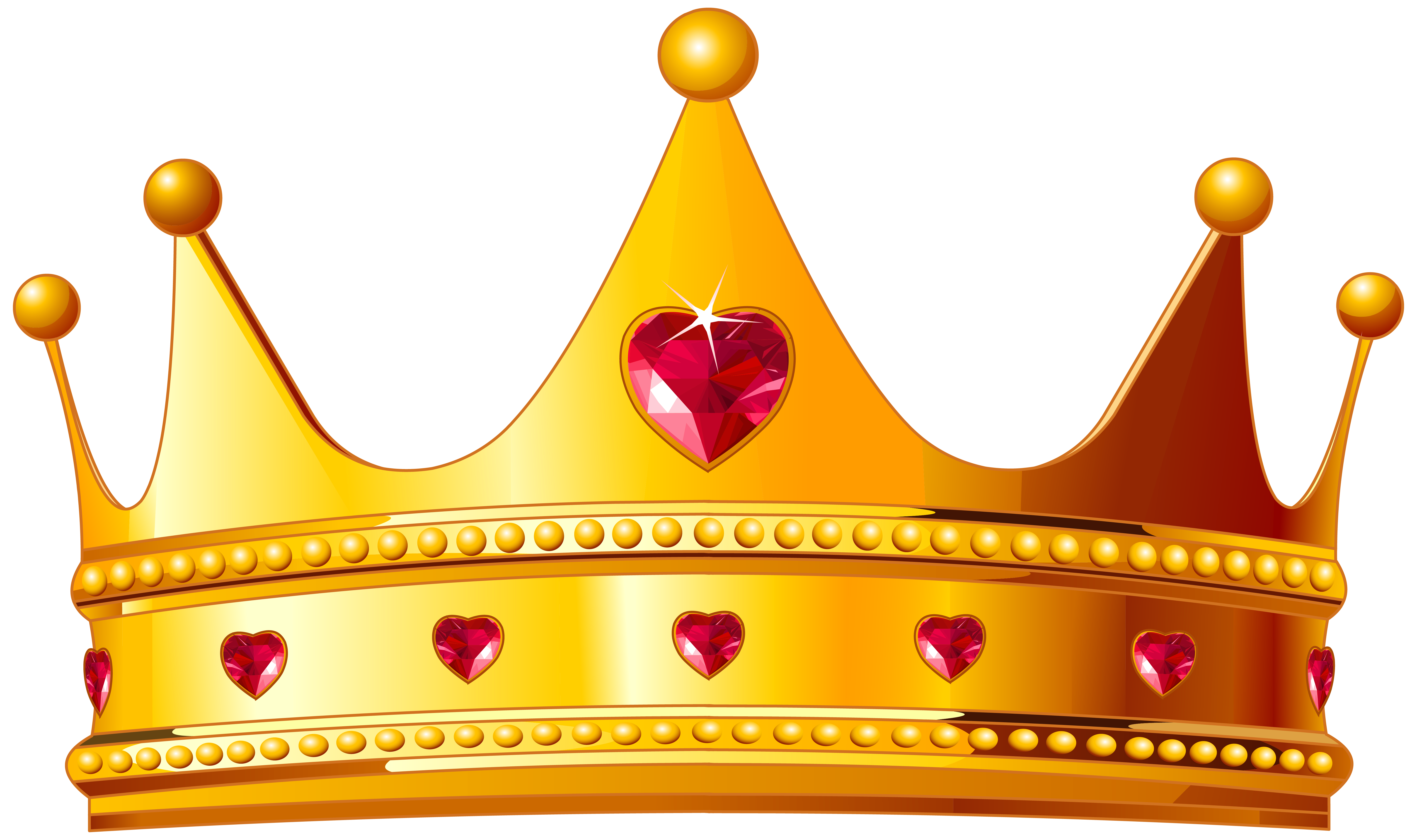stock Golden clipart cartoon. Crown with hearts png