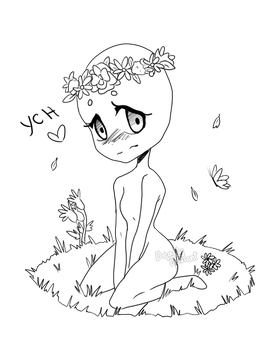 picture royalty free download Drawing ref embarrassed. Ych flower crown closed