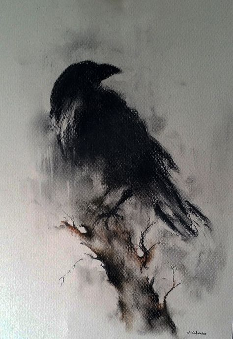 vector freeuse Original black and white. Drawing charcoal raven