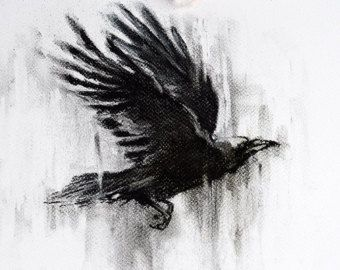 jpg library library Original art dark gothic. Drawing charcoal crow
