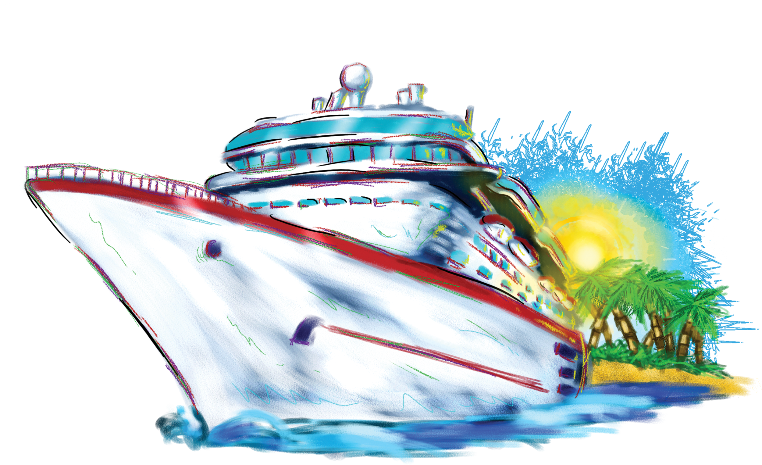 image black and white Vector boat abstract. Sunset cruise ship clipart