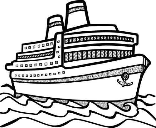 banner library Line art vector drawing. Yacht clipart cruise ship