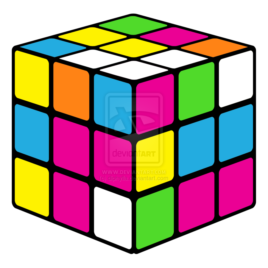 banner free 80's clipart cassete. Neon rubiks cube