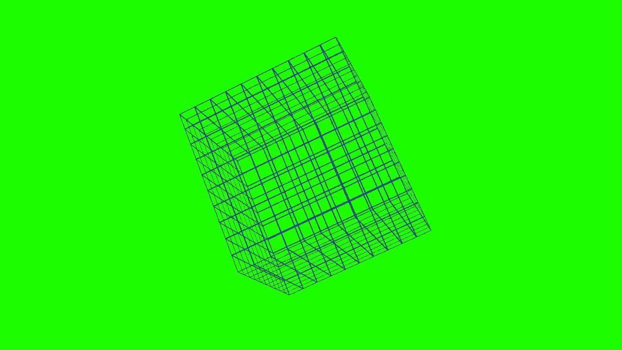 clip free stock Cube transparent vector. Grid rotating green screen