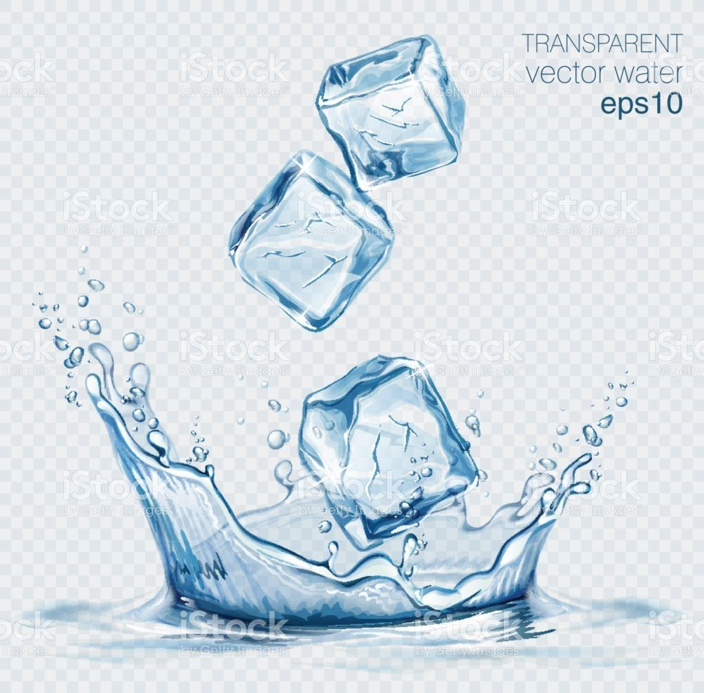 image Cube transparent vector. Water splash and ice