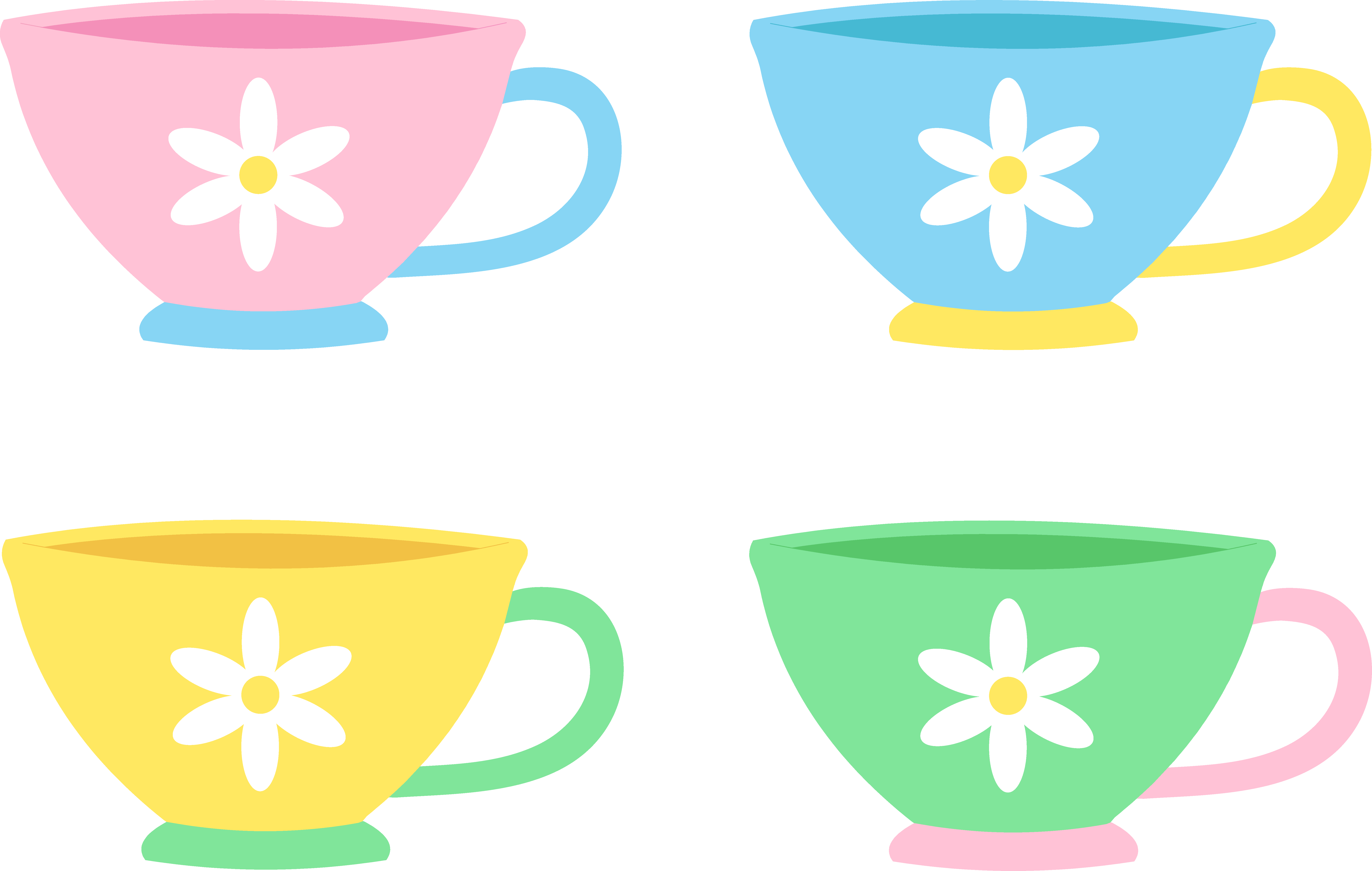 svg royalty free Set of Four Cute Pastel Tea Cups