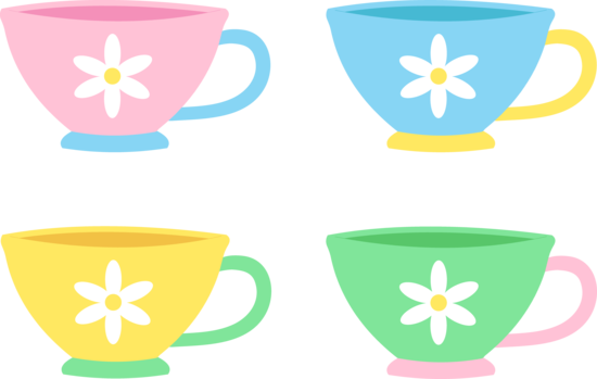 png black and white download Set of Four Cute Pastel Tea Cups