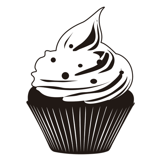 banner black and white stock Cupcake black and white clipart. Cute illustration transparent png