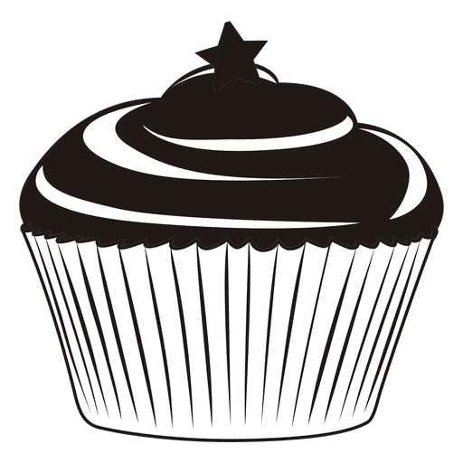 image free Cupcake black and white clipart. Transparent png svg vector