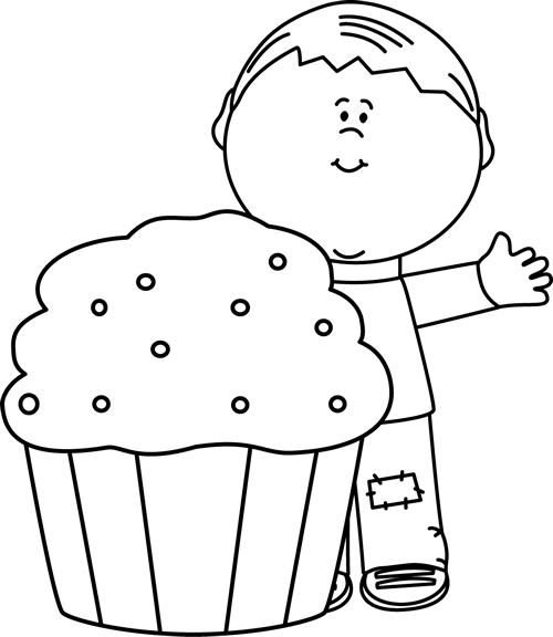 banner black and white stock Clip art images boy. Cupcake clipart black and white