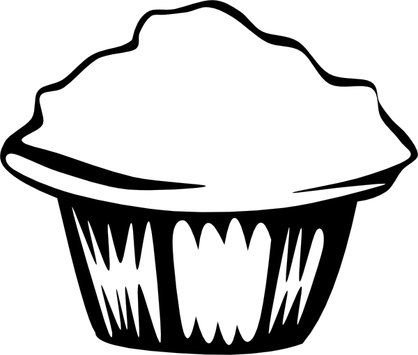 picture free library Cupcake Outline Clipart Black And White