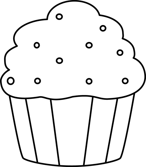 royalty free stock With sprinkles clip art. Cupcake outline clipart black and white