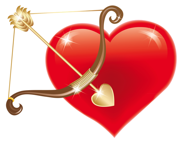 image Arrow and heart clipart. Red with cupid bow