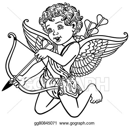 clipart royalty free library Vector stock angel . Cupid clipart black and white