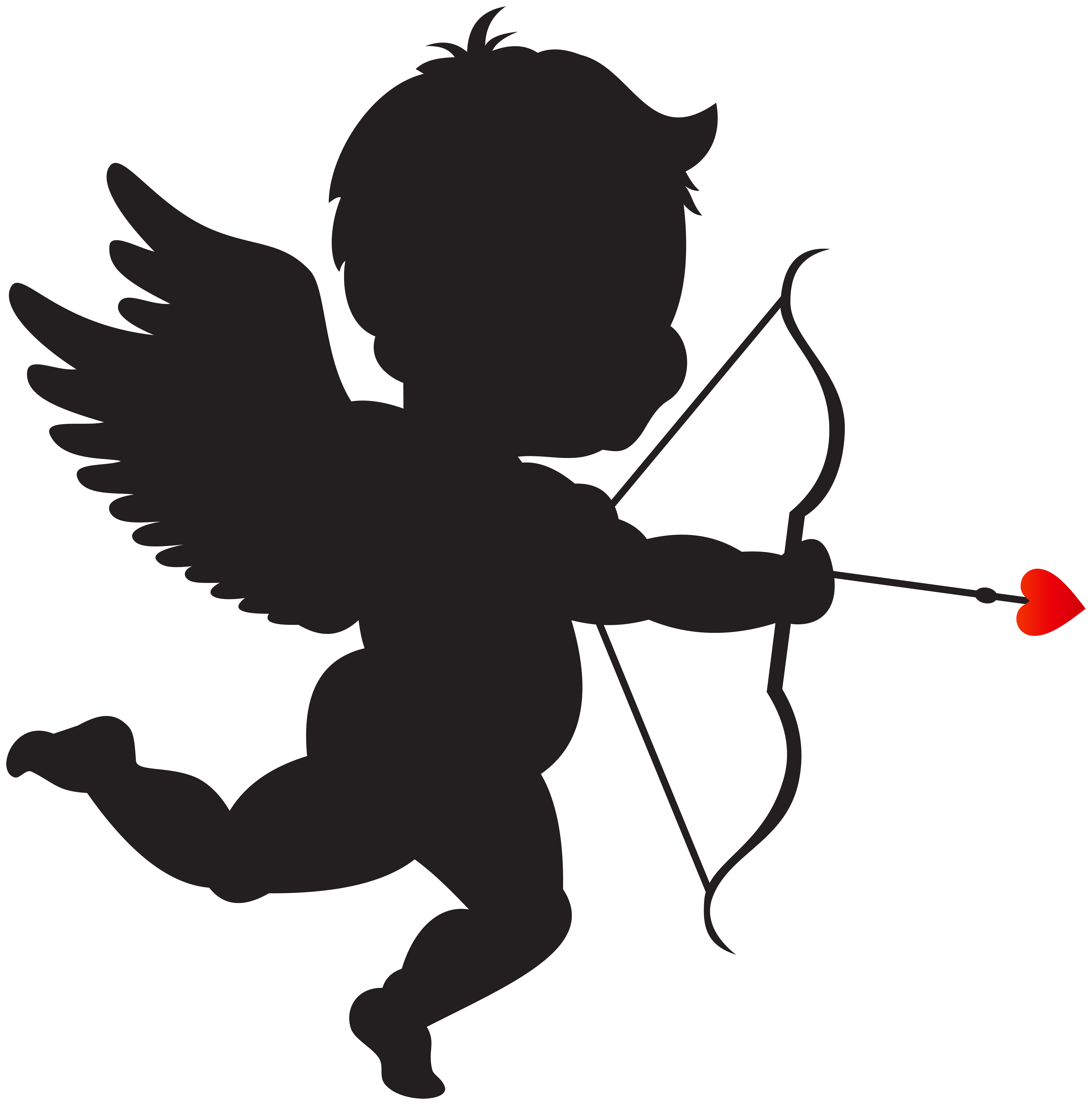 graphic freeuse download Cupid clipart. With bow silhouette png