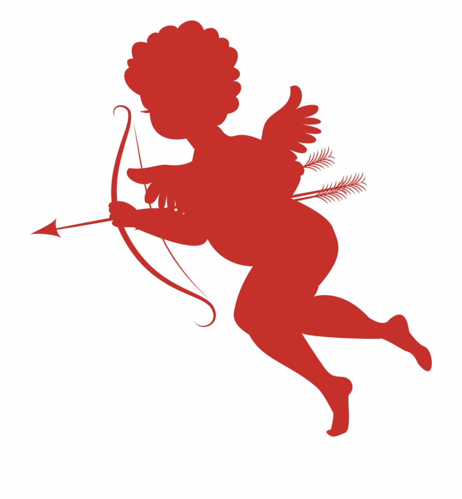graphic library download Red silhouettes png picture. Cupid transparent