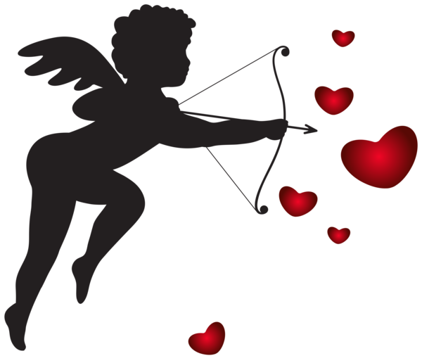 jpg library stock Cupid transparent. With bow and hearts