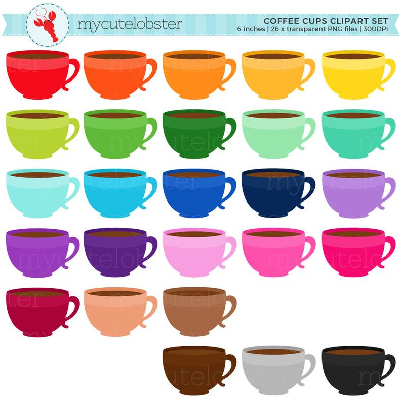 picture Cups clipart. Rainbow coffee set mugs.